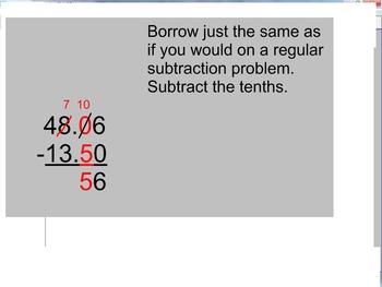 Smartboard Adding and Subtracting Decimals Walkthrough Common Core