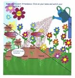 Smartboard Attendance Spring,animated blooming flower garden