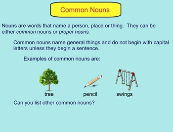 Smartboard:  Common Nouns and Proper Nouns