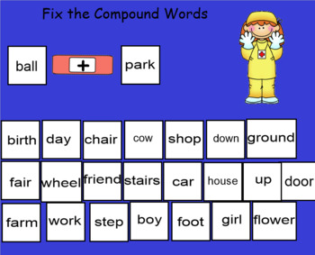 Smartboard Compound Word Practice Second Grade Common Core Standards