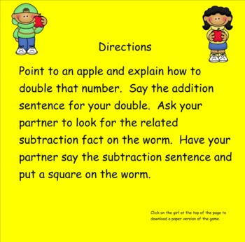 Smartboard Doubles and Associated Subtraction Fact to 18