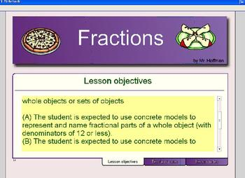 Smartboard Fractions Practice Problems with Pictures
