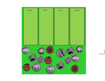 Smartboard Fun:  Sorting Money by Coin/Value and Coin Indentification