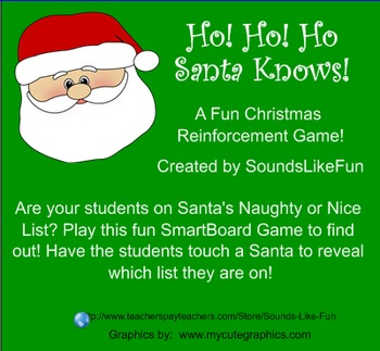 Smartboard Game FREE: Ho Ho Ho! Santa Knows!