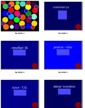 Smartboard Game for Spanish 1 Present Tense Verbs (koosh ball!)