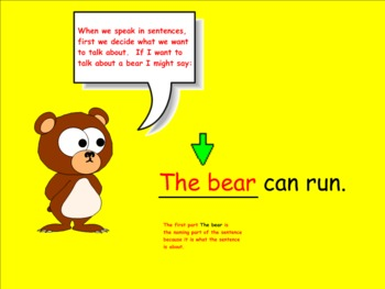 Naming Parts in a Sentence (Smartboard Grammar)