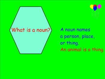Nouns: Thing and Animal Nouns (Smartboard Grammar)