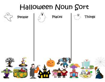 Smartboard Halloween Noun Sort