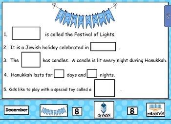 Smartboard Holiday Celebrations Around the World - Hanukkah UPDATED