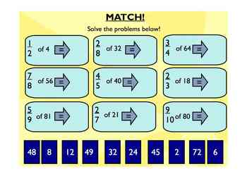 Smartboard Introduction to Finding Fractional Parts of a Group Gr. 3 - 5