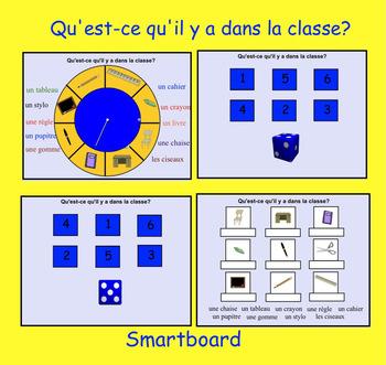 Smartboard: L'Ecole vocabulary spinner