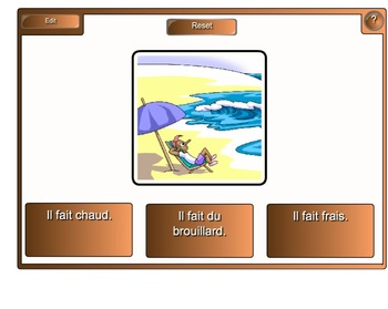 Smartboard:  La Meteo Flash Cards and Multiple Choice Answers