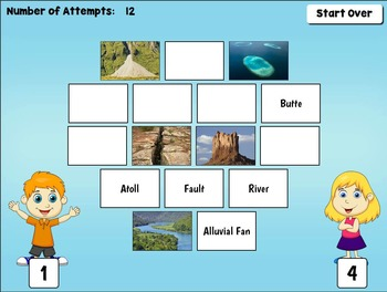 Geography Landforms Game for PC and Smartboard