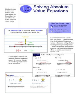 Smartboard Lesson Solving Absolute Value Equations