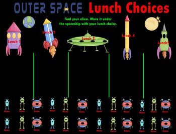 Smartboard Lunch Choice:  Outer Space Theme