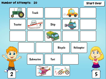 Means of Transportation Game for PC and Smartboard