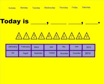 Smartboard Morning Calendar Activities August