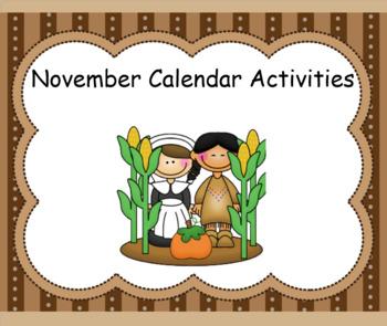 Smartboard Calendar Math Activities November