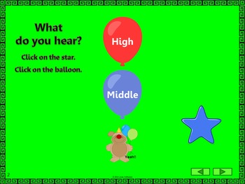 Music Melody - What do you hear: high, middle or low? {Smartboard}