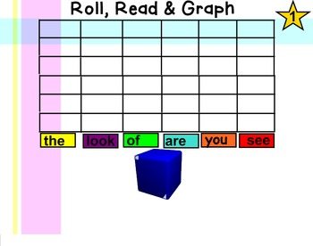 Smartboard Roll, Read & Graph High Frequency Word