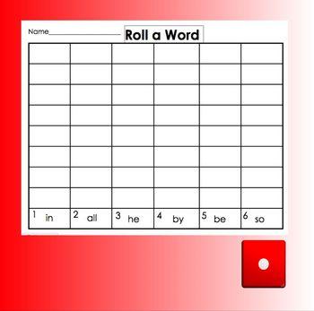 Smartboard Roll a Sight Word