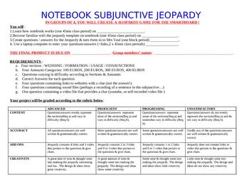 Smartboard Subjunctive Jeopardy Creation