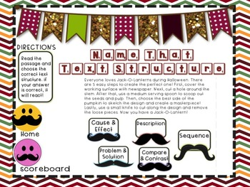 Smartboard - I Mustache You Text Structure Game!