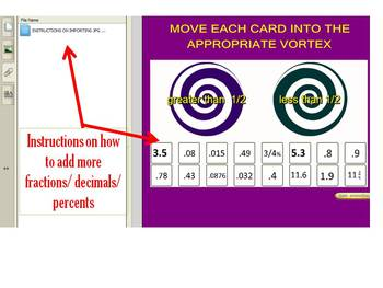 Smartboard Vortex Fraction Decimal Percent Comparisons 7th/8th grade