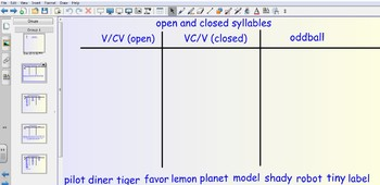 Smartboard Word Sorts - Open and Closed Syllables