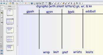 Smartboard Word Sorts - digraphs gn, kn, & wr