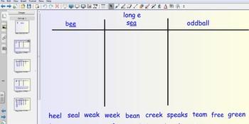 Smartboard Word Sorts - long e spelled ee & ea