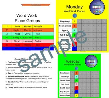 Smartboard Word Work Center Rotation Schedule
