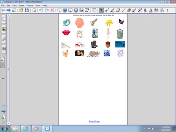 Smartboard activity for Initial Sounds Bb, Cc, Ch, Dd, Ff, Spanish