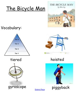"Smartboard for Allen Say's ""The Bicycle Man"""