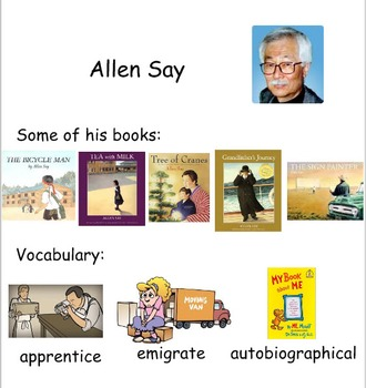 Smartboard for author Allen Say