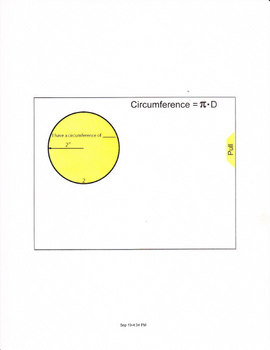 Smartboard lesson for circumference of a circle