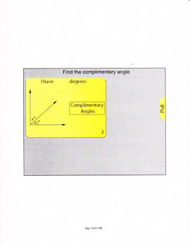 Smartboard lesson for complimentary angles.