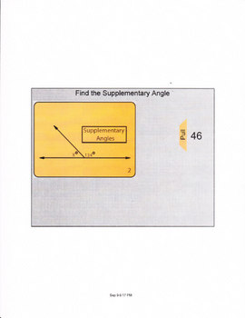 Smartboard lesson for supplementary angles.