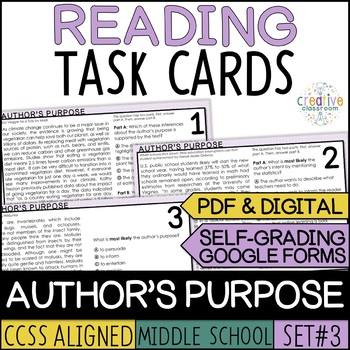 Smarter Balanced Author's Purpose Task Cards