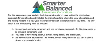 Smarter Balanced (SBAC) Complete The Narrative Practice #1 - Winter Theme