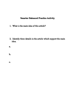 Smarter Balanced ELA Activity:  The Hottest Year on Record