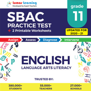 Smarter Balanced Practice Test and Worksheets Grade 11 ELA, SBAC Test Prep