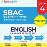 Smarter Balanced Practice Test and Worksheets Grade 4 ELA, SBAC Test Prep