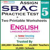 Smarter Balanced Practice Test and Worksheets Grade 5 ELA, SBAC Test Prep
