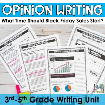 Opinion Essay Writing Set - Black Friday Sales Start Time - 5th Grade