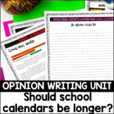 5th Grade Opinion Essay Writing-Should School Calendars be