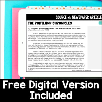 5th Grade Opinion Essay Writing - Should School Lunches be Healthier?