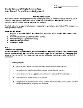Smarter Balanced Writing Performance Task  ~  Year-Round School