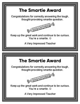 Recognition Of Student Learning: The Smartie Award