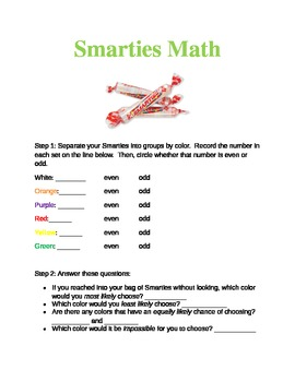 Smarties Math (End of Year Review)